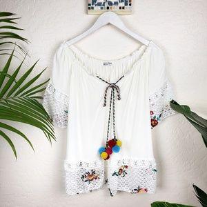 Italian Boho Embroidered Lace Tunic Pompoms